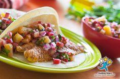 Fish Tacos with Rhubarb Salsa