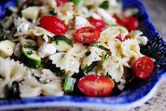 Pasta Salad with tomato,  Zucchini and Feta