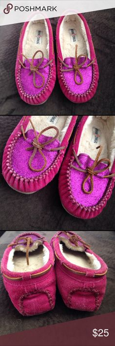 Minnetonka Moccasins Pre owned used conditions.  Pink Sparkly Moccasins  size 7   Wearing on bottom both shoes. Scuffing noted.  Shoes overall in nice shape!!! Minnetonka Shoes Moccasins