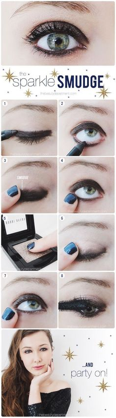 Sparkly smudged-on-purpose makeup. Ideal for the upcoming fall season! #makeup #beauty