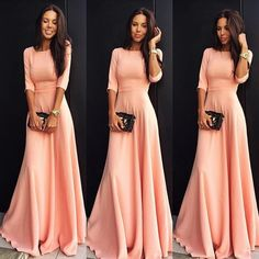 Slim Pure Color 3/4 Sleeves Pleated Long Maxi Dress - O Yours Fashion - 1