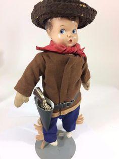 "Cutest cowboy doll around, complete with original holster. Antique Averill Cowboy Doll Compo Hendren Georgene 13"" Holster Mity Midget Vtg"