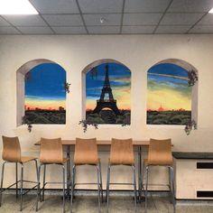 trompe l'oeil mural project in a school canteen