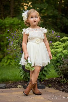 The Charlotte - Ivory, Lace, Chiffon Flower Girl Dress,