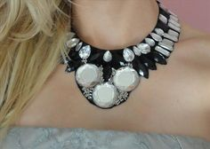 DIY collar necklace for straples top and embellished shirt with pearls