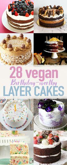 28 Birthday-Worthy Vegan Layer Cakes Vegan Cake vegan cake for birthday Vegan Treats, Vegan Foods, Vegan Snacks, Vegan Dishes, Food Cakes, Cupcake Cakes, Cupcakes, Cake Fondant, Vegan Dessert Recipes
