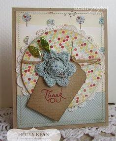 Our Creative Corner Card...lovely blue crochet flower...