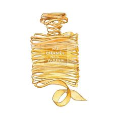 Print Illustration CHANEL No 5 Perfume Yellow Ribbon Watercolor... ($10) ❤ liked on Polyvore featuring home, home decor, wall art, yellow home accessories, framed wall art, watercolor illustration, photo wall art and ink bottle