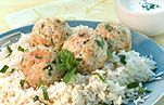 Mint and lemon zest give a fresh flavor to chicken meatballs with tangy yogurt sauce.