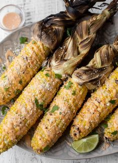 This bang bang grilled corn is delicious! Drizzled with a creamy, sweet and spicy sauce, topped with cotija cheese. So good!