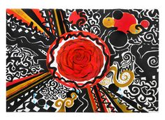 Red Rose Explosion  Acrylic Painting By Holly Chaffin Porter (HC PORTER)