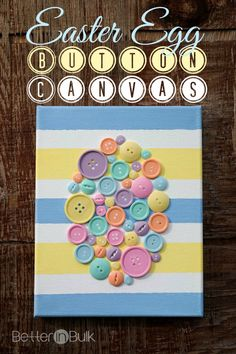 Spring Easter Egg Button Canvas