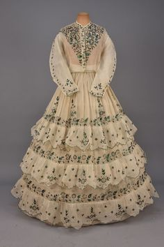 fripperiesandfobs: Dress, 1860′s From Whitaker Auctions