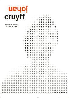 Johan Cruyff Football illustration by Mark Frances Typography Logo, Graphic Design Typography, Graphic Design Illustration, Football Design, Football Art, Sports Graphics, Branding, Design Graphique, Design Reference