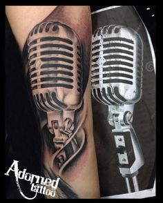 Realistic Microphone by Craig Bartlett. Find us on facebook to see even more tattoos. https://www.facebook.com/adornedtattoo