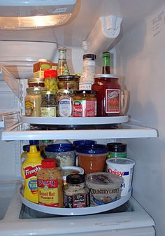 Add a Lazy Susan to the fridge to make small items more accessible. #Tip #Organization #CatherinesPick