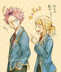Natsu and Lucy as high school students  natsu's expression though