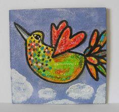 ÜBER DEN WOLKEN von Herbivore11 Unikat Inchie Vogel Vögel bunt Zeichnung Bild