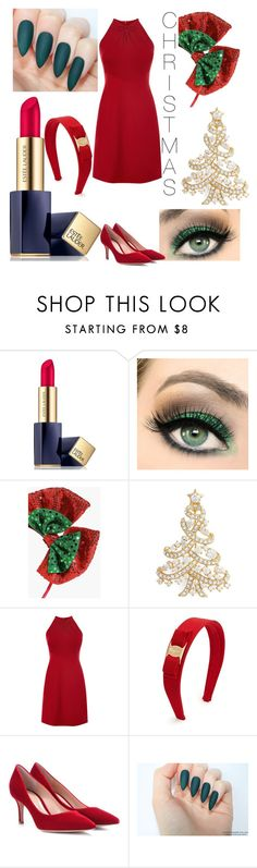 """red and green outfit"" by angelswingz ❤ liked on Polyvore featuring beauty, Estée Lauder, Boohoo, Nadri, Salvatore Ferragamo and Gianvito Rossi"
