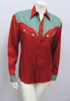 VINTAGE-RALPH-LAUREN-WESTERN-SHIRT-RED-RUST-JADE-GREEN-ICONIC-STYLE-SIZE-6
