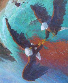 """Vertigo-whirling Bald Eagles over Santa Cruz Island"" oil by David Gallup"