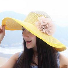 Flower wide brim straw hat for women UV summer wear