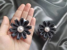 ribbon flowers kids japanese hair accessories kanzashi flower hair clip for girl small baby ribbon flower hair clip dark gray alligator hair clips ***READY to SHIP!*** Nice small hair flowers for girls. Flowers made in the style of kanzashi from satin ribbons. Flower diameter of