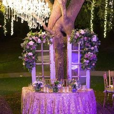 Isn't this the dreamiest sweetheart table? Our french doors are the perfect backdrop and the chandelier and twinkle lights are exquisite.   #prettyvintagerentals #wedding #weddingreception #sweathearttable #brideandgroom #saddlerockranchwedding {:@