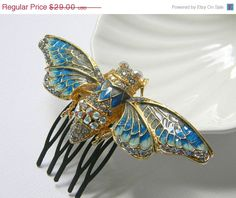 Cicada Hair Comb  Insect Comb  Blue and Cream Enamel by DanaCastle, $24.65