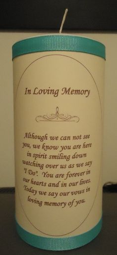 memory candle. I want this for my wedding one day.