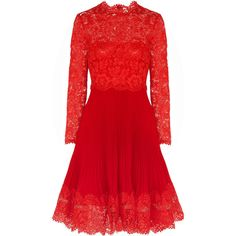 Valentino Lace and plissé silk-crepe dress ($1,494) ❤ liked on Polyvore featuring dresses, valentino, vestidos, red, lace dress, fitted dresses, loose dresses, loose fitting dresses and red dress