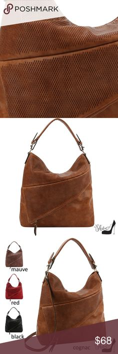 3118f0104a5f Hobo Handbag w Asymmetrical Zippered Compartment - Rich, soft, Vegan  Leather Handbag with lots