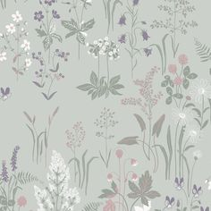 Red clover, oxeye daisies, love-in-idleness and water avens. A wonderful pattern of meadow flowers, a reminder of childhood summers. Here in a new turquoise colour scheme with a hint of the 1950s.