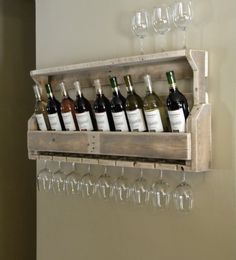 Furniture Sof Brown Rustic Botle Wine And Glass Shelving Wall Mounted Beige Stained Wall Hanging Rustic Goblet Glass Wine And Glass Holder Casual Walnut Wine Rack For Kitchen Interesting And Cool Unusual Shelves For Your Room