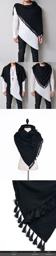 Accessories :: Scarves :: Fringe Black Square-Scarf 34 - GUYLOOK Men's Trendy Fashion Clothing Online