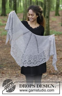 Wings of Love - Knitted shawl with lace pattern in stocking stitch and garter stitch. The piece is worked in DROPS Lace. Free knitted pattern DROPS 181-4