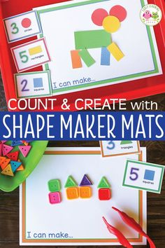 Shape & Counting Activity for Preschool and Pre-k Fine Motor Activities For Kids, Counting Activities, Steam Activities, Color Activities, Creative Activities, Number Activities, Preschool Activities, Preschool Classroom, Classroom Ideas