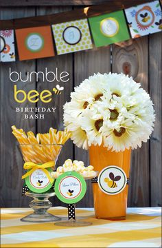 Bumble bee themed party ideas.