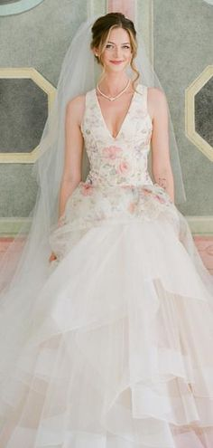 e309a009180 Light Pink Organza Floral Prints Ball Gown Spring Wedding Dresses