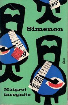 Dick Bruna coverdesign    Georges Simenon  Maigret incognito  (Maigret s'amuse)  Maigret incognito    A.W Bruna & Zoon. Utrecht, 1959  Zwarte Beertjes  Black Bears 117