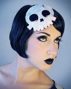 Glitter Skull fascinator headband sparkly by HorriblyEclectic, $45.00