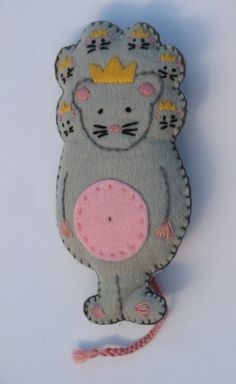Hand embroidered Mouse King from the Nutcracker Ballet.