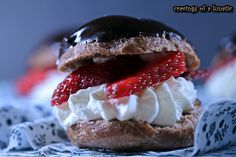 Chocolate Cream Puffs with Whipped Cream & Strawberries by Cravings of a Lunatic