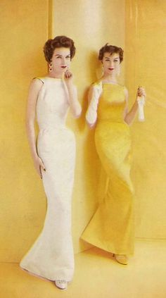 Photo by Richard Rutledge, 1956= Column Gowns-  I  remember my Mom wore a beautiful ivory one with a nice embossed brocade jacquard print with the elbow satin  gloves and a cocoa brown mink fur  stole-so chic!!
