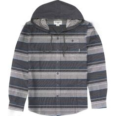 Billabong Unisex Ziggy Hooded Flannel ($42) ❤ liked on Polyvore featuring tops, light grey heather, woven tops, billabong tops, flannel tops, unisex tops, stripe top and billabong