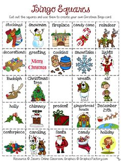 Christmas Bingo - Create Your Own Luck - This Christmas Bingo resource includes: One Christmas bingo calling card with 24 Christmas related images. One Christmas bingo picture card with 24 Christmas related images that the students will need to cut out. Christmas Bingo Printable, Christmas Bingo Cards, Preschool Christmas, Noel Christmas, Christmas Images, Christmas Activities, Christmas Themes, Bingo Card Template, Online Classroom