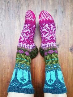 Fairy Tale Socks pattern by Sini Huupponen – socken stricken Crochet Socks, Knitting Socks, Free Knitting, Knit Crochet, Knitting Videos, Knitting Projects, Fair Isle Pattern, Wool Socks, How To Purl Knit