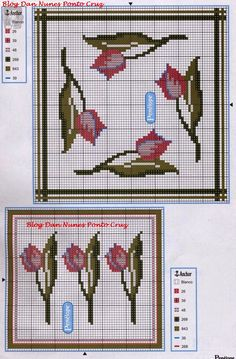 **Blog Amor Perfeito** Gráficos de ponto cruz: Tulipas Cross Stitch Owl, Cross Stitch Flowers, Cross Stitch Patterns, Tablecloth Curtains, Emoticon, Needlepoint, Projects To Try, Weaving, Kids Rugs