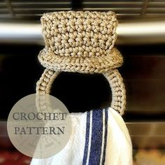 Crochet Pattern - Herbal Tea Towel Ring — The Roving Nomad Crochet Cord, Diy Crochet And Knitting, Learn To Crochet, Crochet Hooks, Crochet Baskets, Crochet Towel Holders, Crochet Kitchen Towels, Crochet Wedding, Crochet Dishcloths