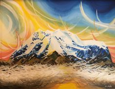 Illimani, hermosa montaña tutelar de La Paz - Bolivia. Óleo de Carlos Calvimontes Rojas
